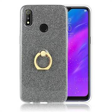 Luxury Soft TPU Glitter Back Ring Cover with 360 Rotate Finger Holder Buckle for Oppo Realme 3 - Black