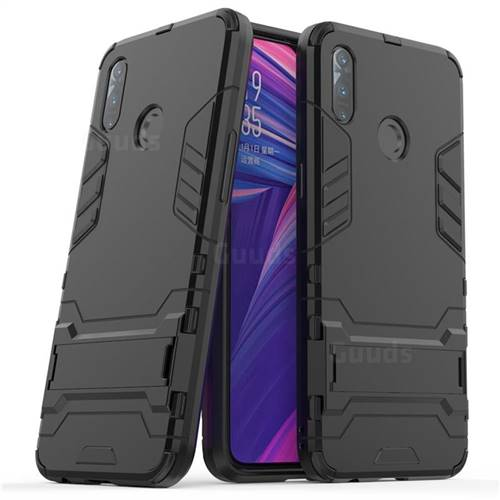 Armor Premium Tactical Grip Kickstand Shockproof Dual Layer Rugged Hard Cover for Oppo Realme 3 - Black