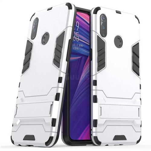 Armor Premium Tactical Grip Kickstand Shockproof Dual Layer Rugged Hard Cover for Oppo Realme 3 - Silver