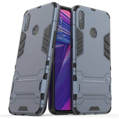 Armor Premium Tactical Grip Kickstand Shockproof Dual Layer Rugged Hard Cover for Oppo Realme 3 - Navy