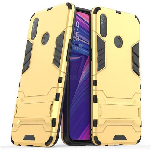 Armor Premium Tactical Grip Kickstand Shockproof Dual Layer Rugged Hard Cover for Oppo Realme 3 - Golden