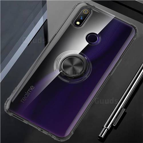 Anti-fall Invisible Press Bounce Ring Holder Phone Cover for Oppo Realme 3 Pro - Elegant Black