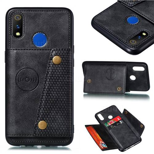 Retro Multifunction Card Slots Stand Leather Coated Phone Back Cover for Oppo Realme 3 Pro - Black