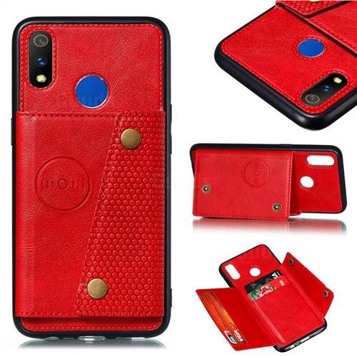 Retro Multifunction Card Slots Stand Leather Coated Phone Back Cover for Oppo Realme 3 Pro - Red