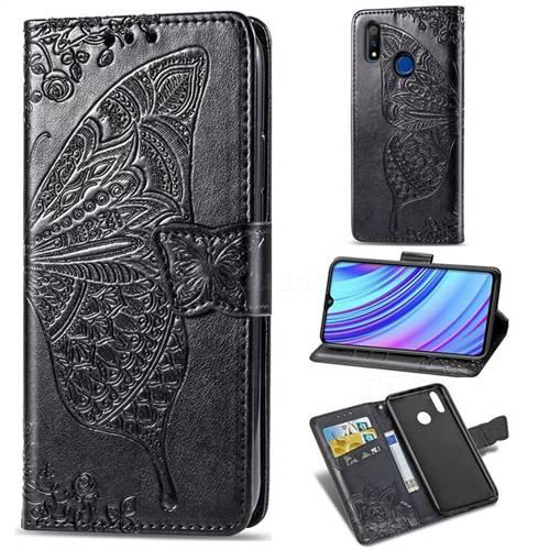 Embossing Mandala Flower Butterfly Leather Wallet Case for Oppo Realme 3 Pro - Black