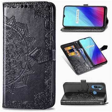 Embossing Imprint Mandala Flower Leather Wallet Case for Oppo Realme C3 - Black