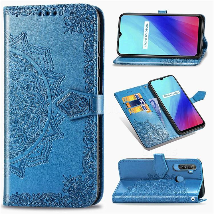 Embossing Imprint Mandala Flower Leather Wallet Case for Oppo Realme C3 - Blue