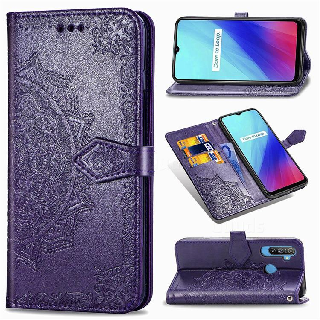 Embossing Imprint Mandala Flower Leather Wallet Case for Oppo Realme C3 - Purple
