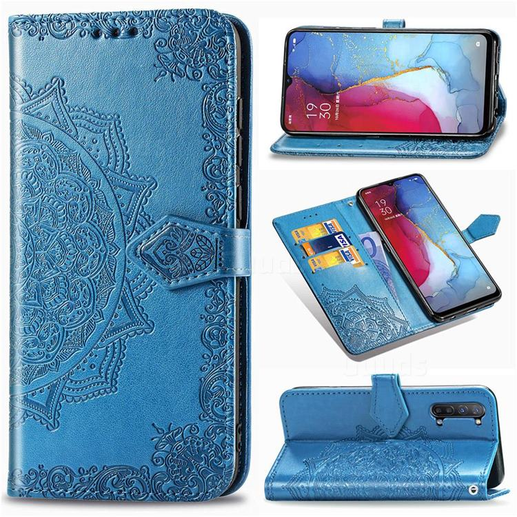Embossing Imprint Mandala Flower Leather Wallet Case for Oppo Reno 3 - Blue