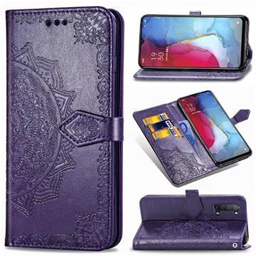 Embossing Imprint Mandala Flower Leather Wallet Case for Oppo Reno 3 - Purple