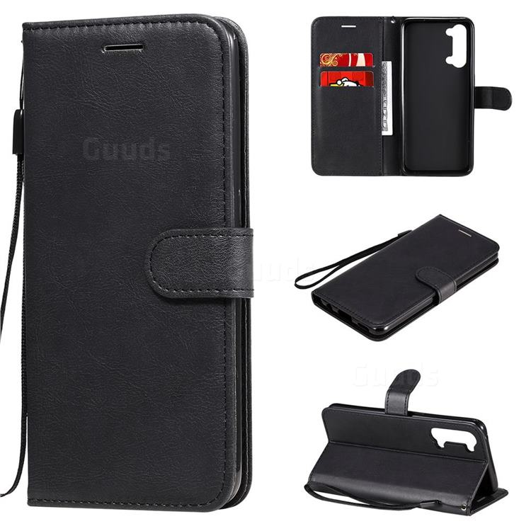 Retro Greek Classic Smooth PU Leather Wallet Phone Case for Oppo Reno 3 5G - Black