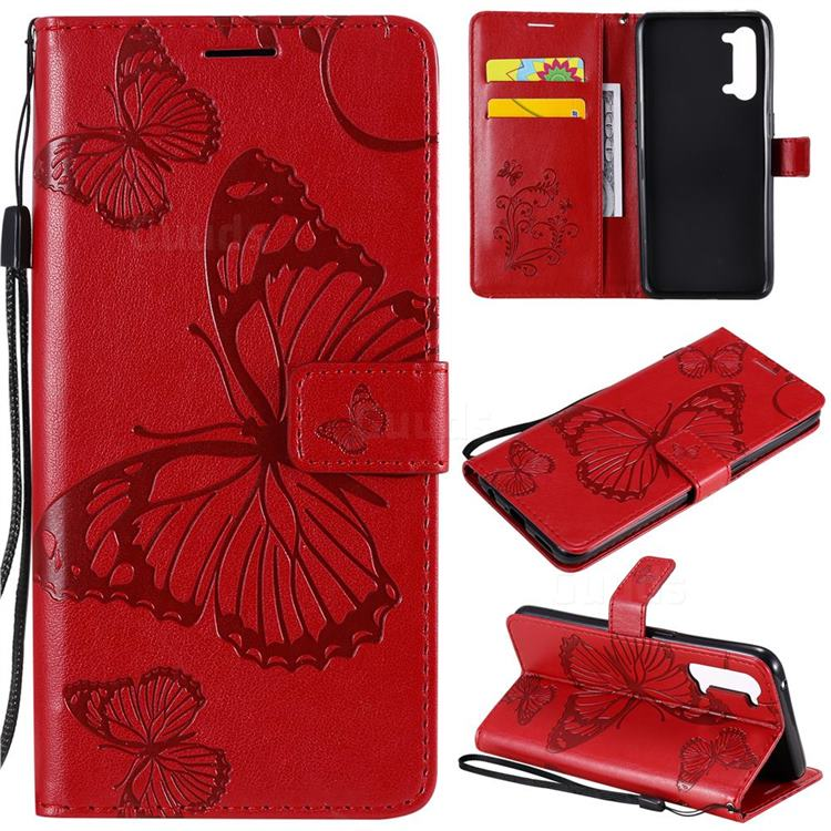 Embossing 3D Butterfly Leather Wallet Case for Oppo Reno 3 5G - Red