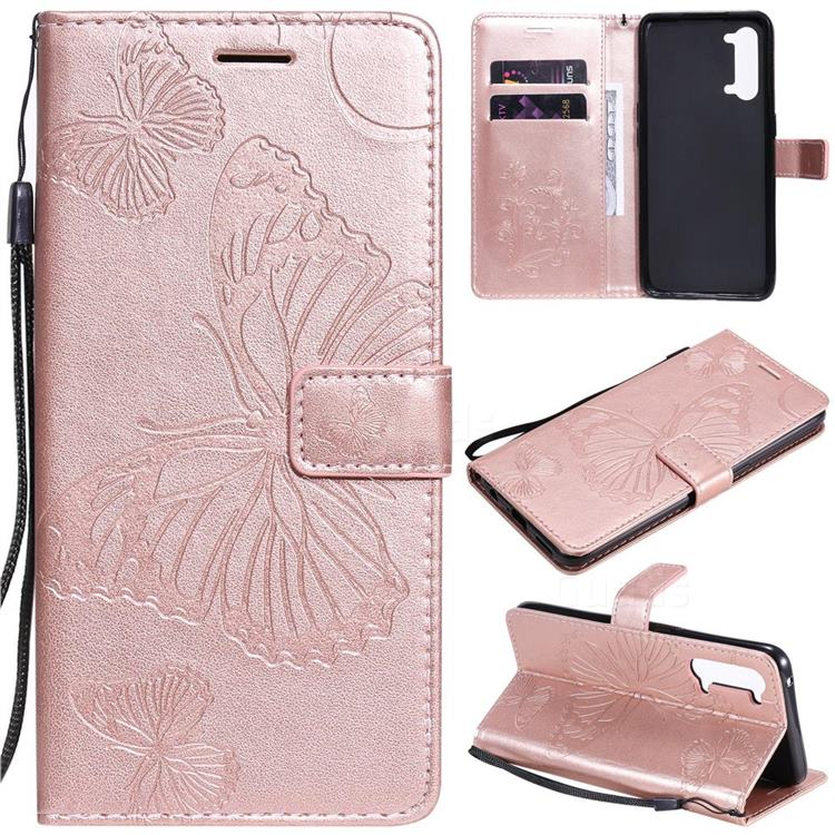 Embossing 3D Butterfly Leather Wallet Case for Oppo Reno 3 5G - Rose Gold