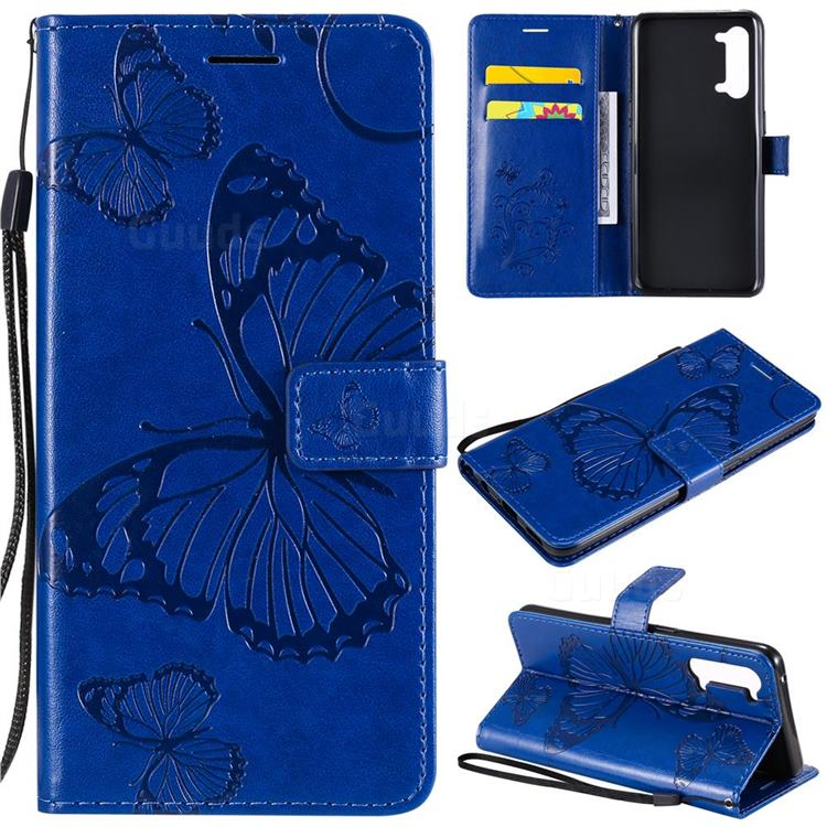 Embossing 3D Butterfly Leather Wallet Case for Oppo Reno 3 5G - Blue