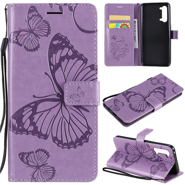 Embossing 3D Butterfly Leather Wallet Case for Oppo Reno 3 5G - Purple