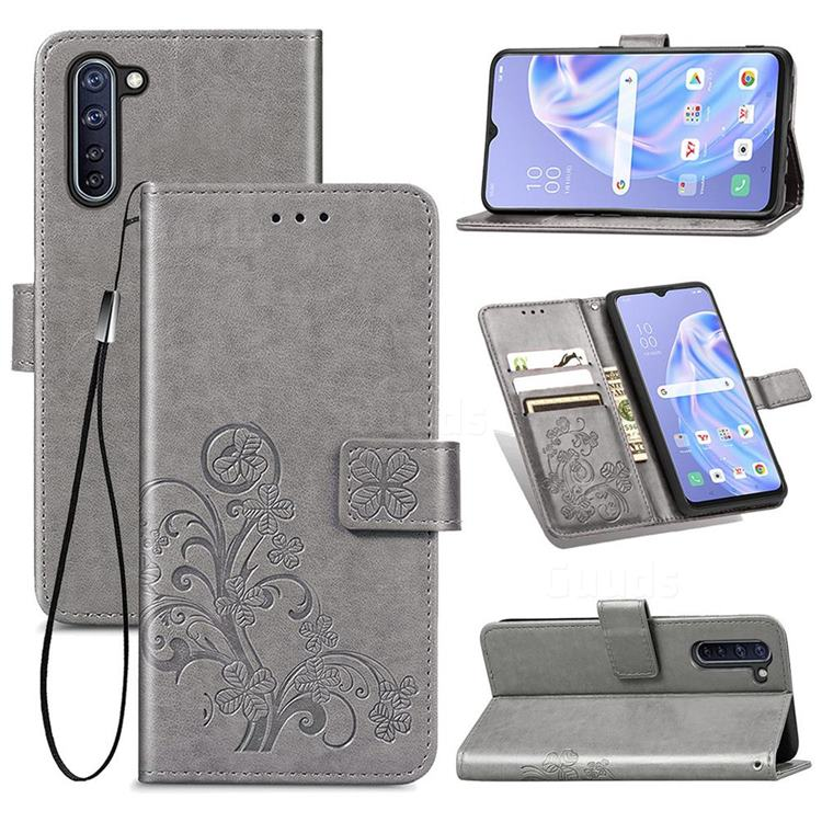Embossing Imprint Four-Leaf Clover Leather Wallet Case for Oppo Reno 3A - Grey