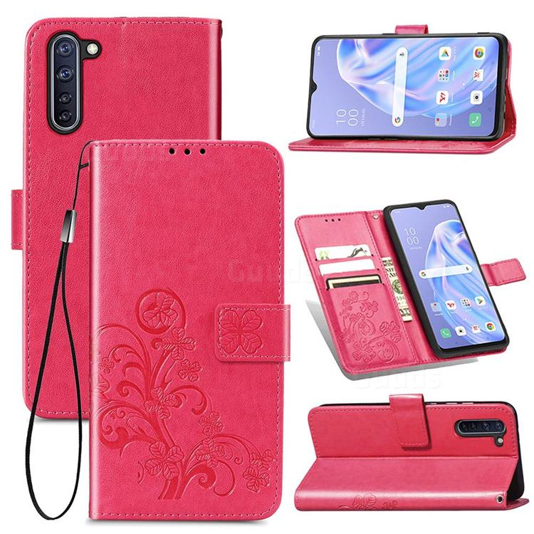 Embossing Imprint Four-Leaf Clover Leather Wallet Case for Oppo Reno 3A - Rose Red