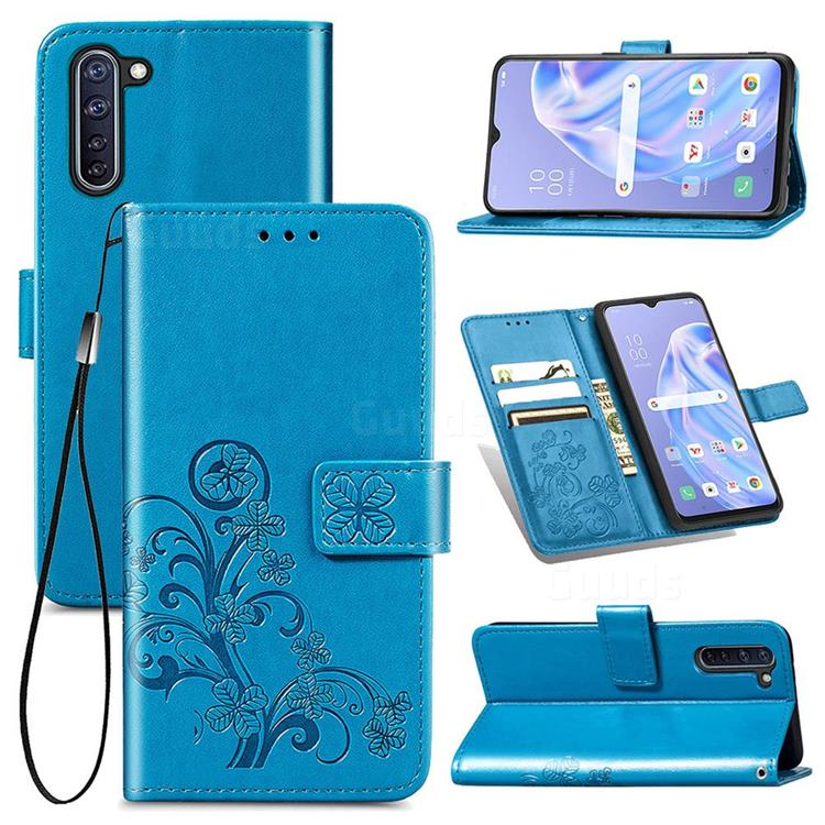 Embossing Imprint Four-Leaf Clover Leather Wallet Case for Oppo Reno 3A - Blue