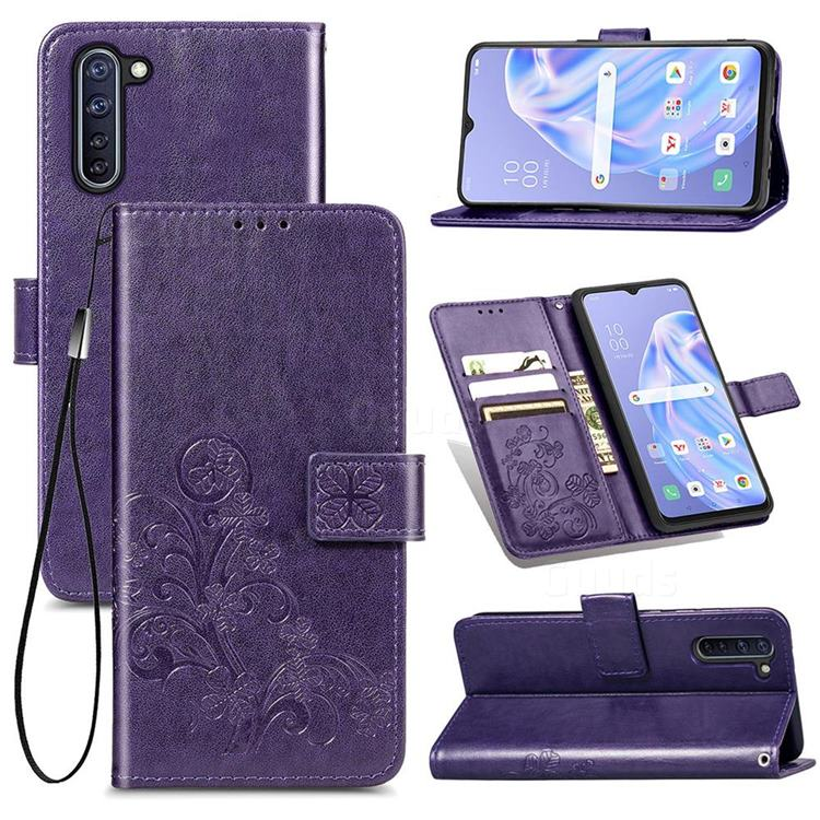 Embossing Imprint Four-Leaf Clover Leather Wallet Case for Oppo Reno 3A - Purple