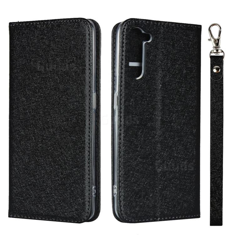 Ultra Slim Magnetic Automatic Suction Silk Lanyard Leather Flip Cover for Oppo Reno 3A - Black