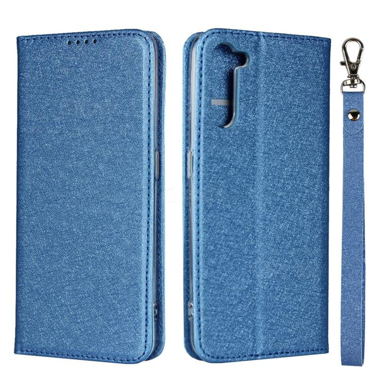 Ultra Slim Magnetic Automatic Suction Silk Lanyard Leather Flip Cover for Oppo Reno 3A - Sky Blue