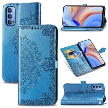 Embossing Imprint Mandala Flower Leather Wallet Case for Oppo Reno4 - Blue