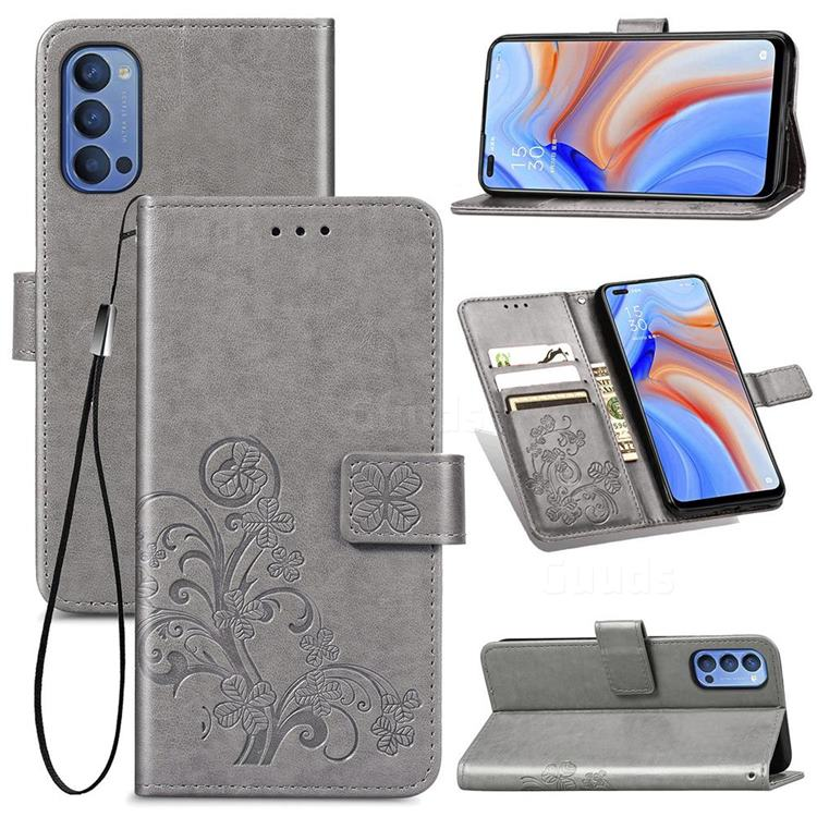 Embossing Imprint Four-Leaf Clover Leather Wallet Case for Oppo Reno4 - Grey
