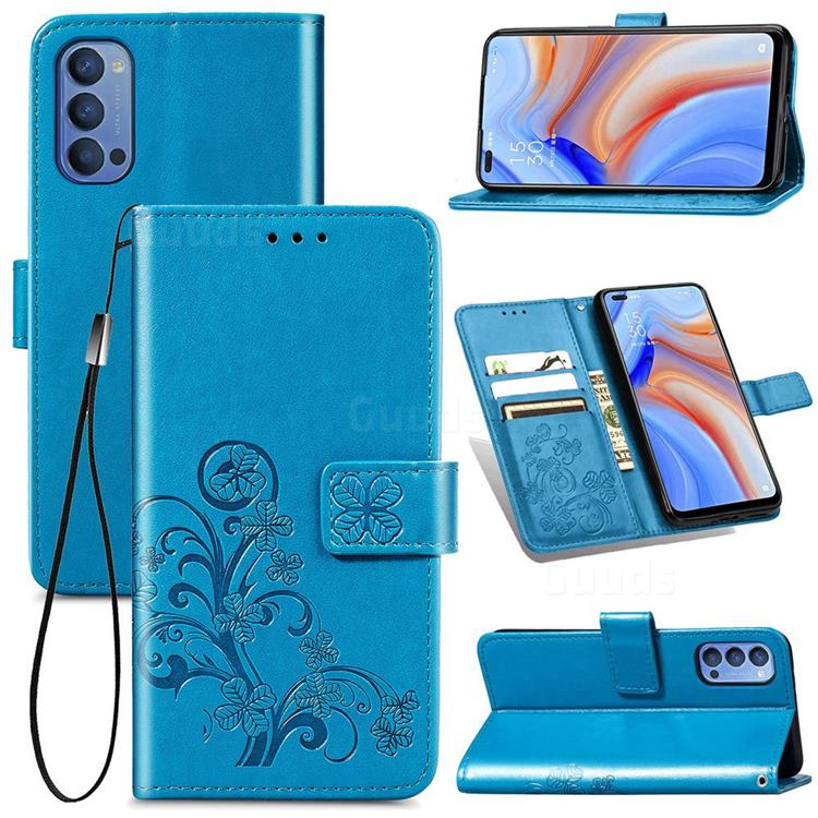 Embossing Imprint Four-Leaf Clover Leather Wallet Case for Oppo Reno4 - Blue