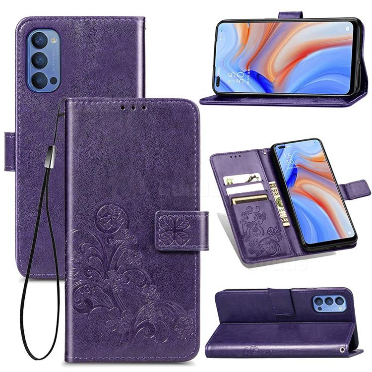 Embossing Imprint Four-Leaf Clover Leather Wallet Case for Oppo Reno4 - Purple