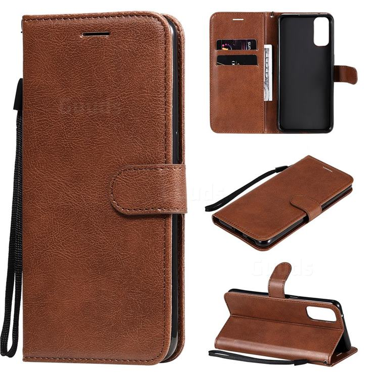 Retro Greek Classic Smooth PU Leather Wallet Phone Case for Oppo Reno4 5G - Brown