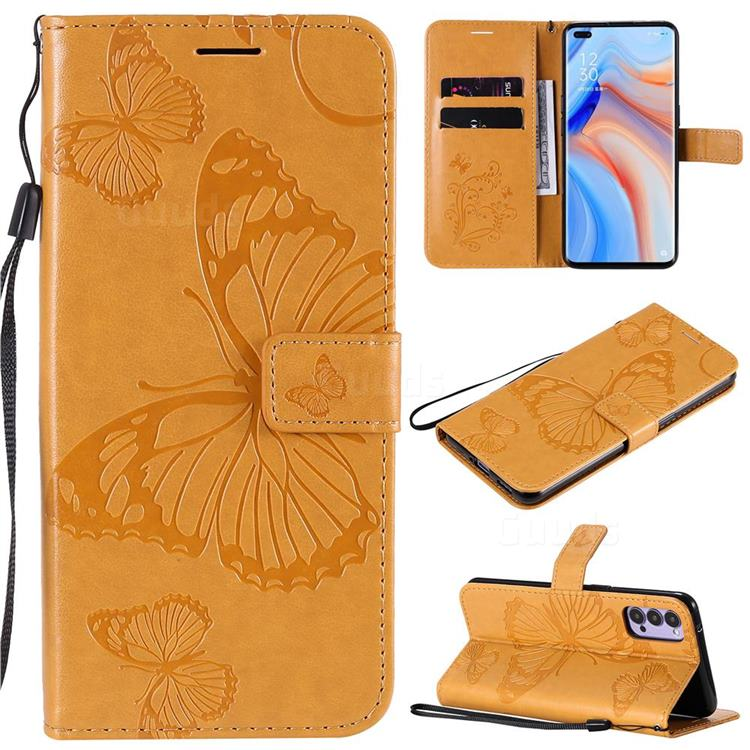 Embossing 3D Butterfly Leather Wallet Case for Oppo Reno4 5G - Yellow