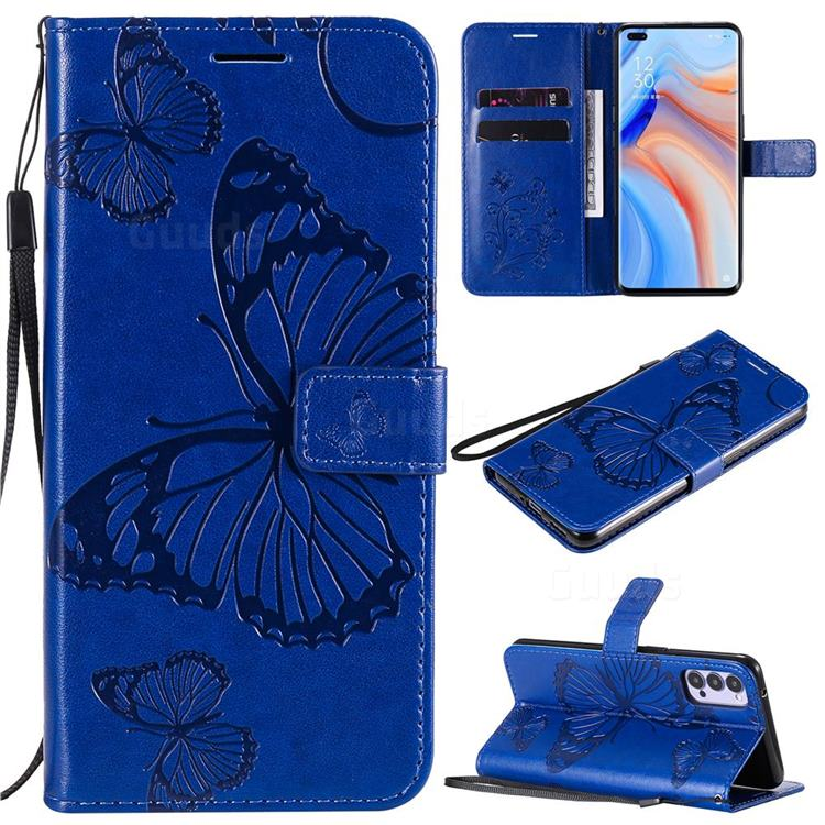 Embossing 3D Butterfly Leather Wallet Case for Oppo Reno4 5G - Blue