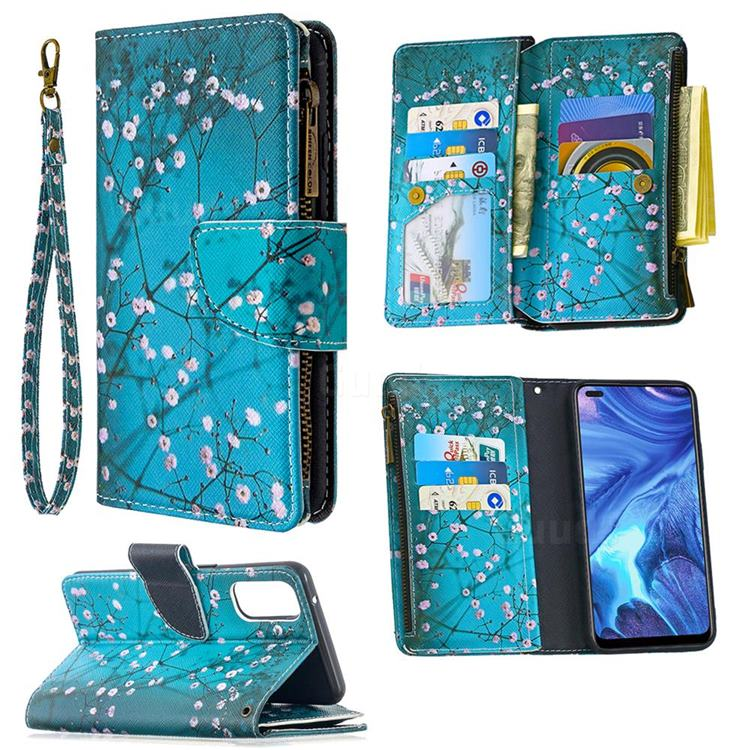 Blue Plum Binfen Color BF03 Retro Zipper Leather Wallet Phone Case for Oppo Reno4 5G