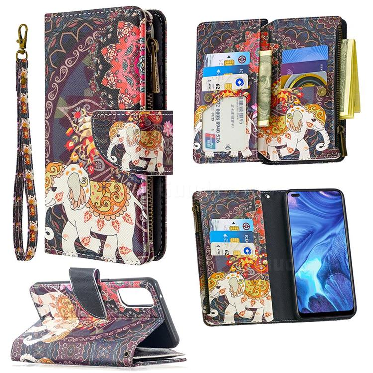 Totem Flower Elephant Binfen Color BF03 Retro Zipper Leather Wallet Phone Case for Oppo Reno4 5G