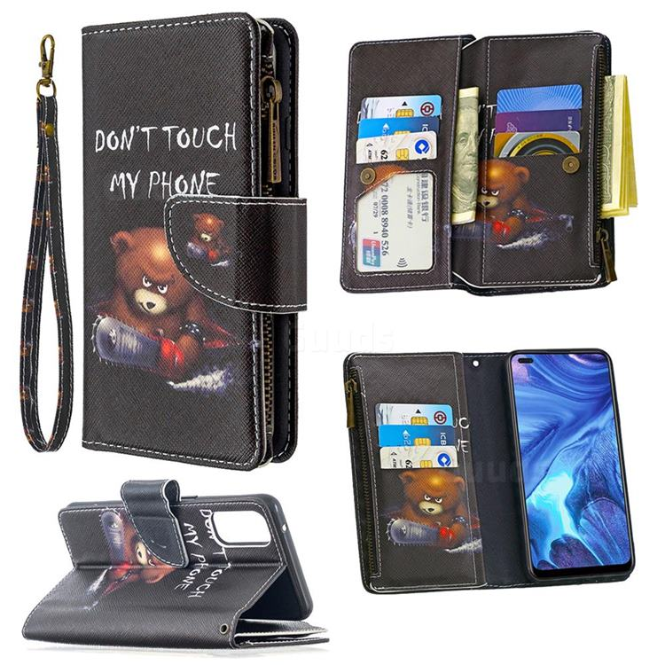 Chainsaw Bear Binfen Color BF03 Retro Zipper Leather Wallet Phone Case for Oppo Reno4 5G