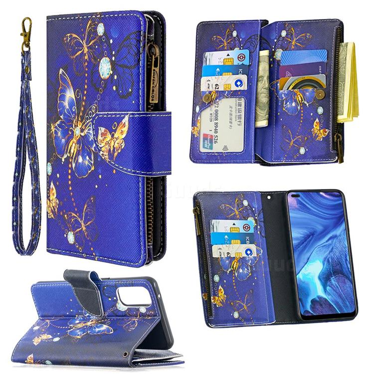 Purple Butterfly Binfen Color BF03 Retro Zipper Leather Wallet Phone Case for Oppo Reno4 5G
