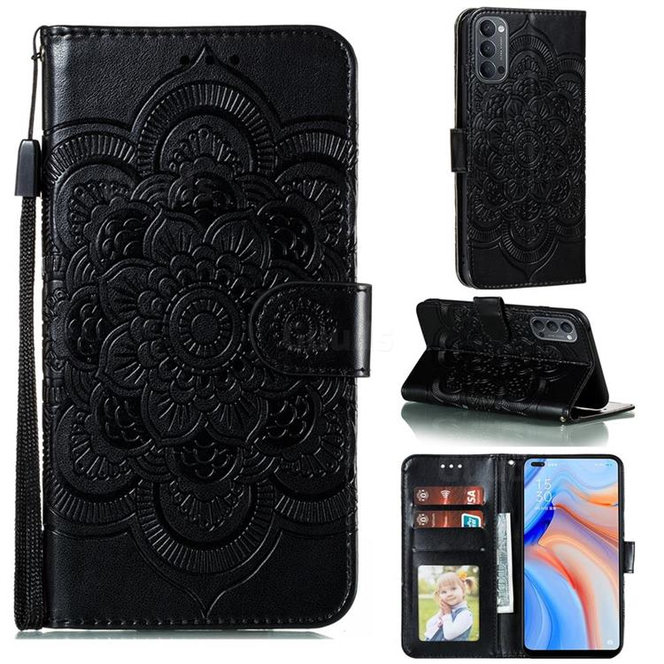 Intricate Embossing Datura Solar Leather Wallet Case for Oppo Reno4 5G - Black