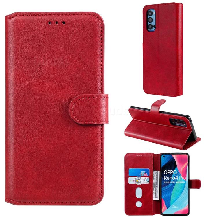Retro Calf Matte Leather Wallet Phone Case for Oppo Reno4 Pro 5G - Red