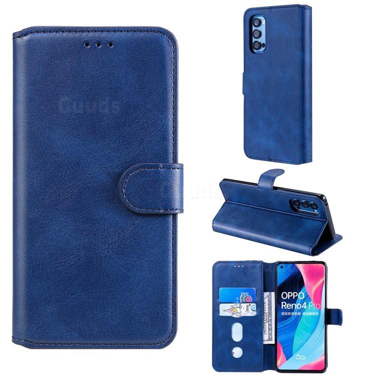 Retro Calf Matte Leather Wallet Phone Case for Oppo Reno4 Pro 5G - Blue