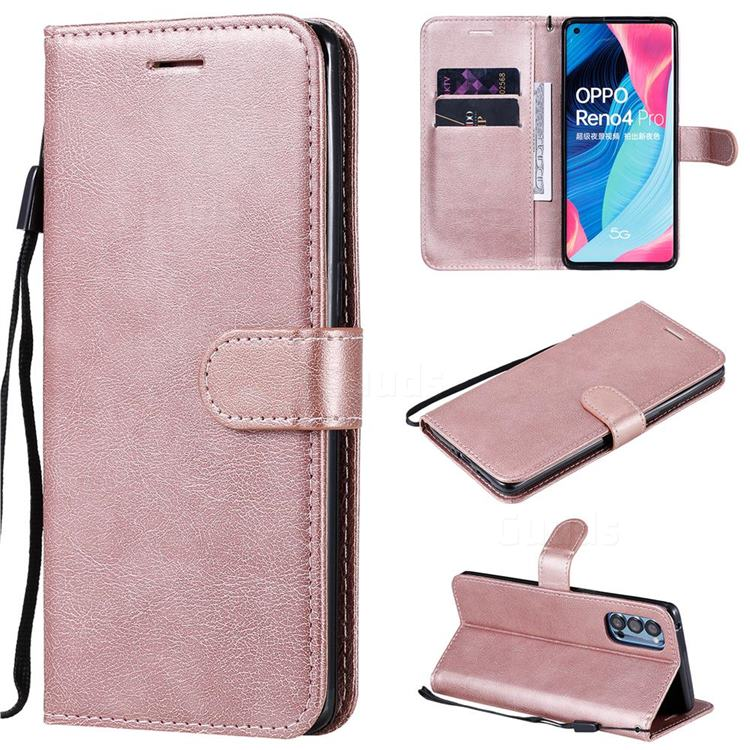 Retro Greek Classic Smooth PU Leather Wallet Phone Case for Oppo Reno4 Pro 5G - Rose Gold