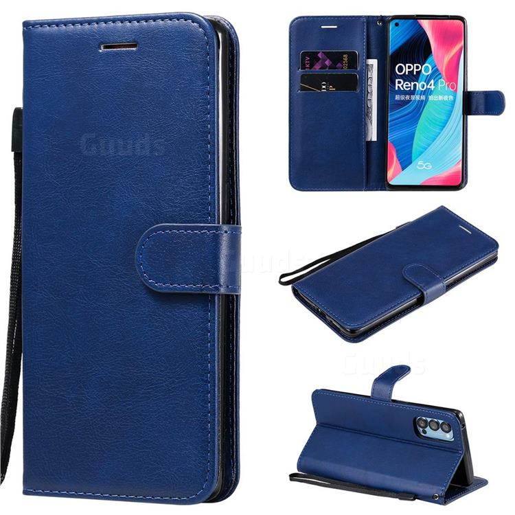 Retro Greek Classic Smooth PU Leather Wallet Phone Case for Oppo Reno4 Pro 5G - Blue