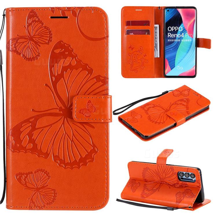 Embossing 3D Butterfly Leather Wallet Case for Oppo Reno4 Pro 5G - Orange