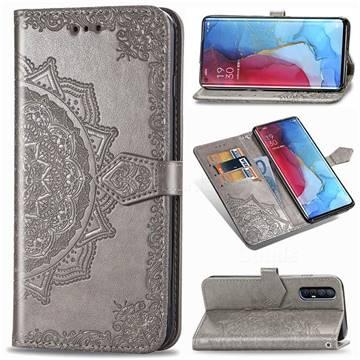 Embossing Imprint Mandala Flower Leather Wallet Case for Oppo Reno 3 Pro - Gray
