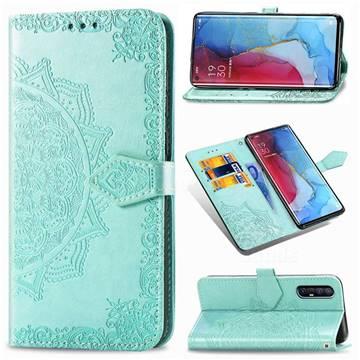 Embossing Imprint Mandala Flower Leather Wallet Case for Oppo Reno 3 Pro - Green