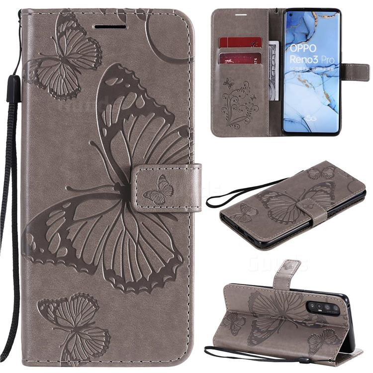 Embossing 3D Butterfly Leather Wallet Case for Oppo Reno 3 Pro 5G - Gray