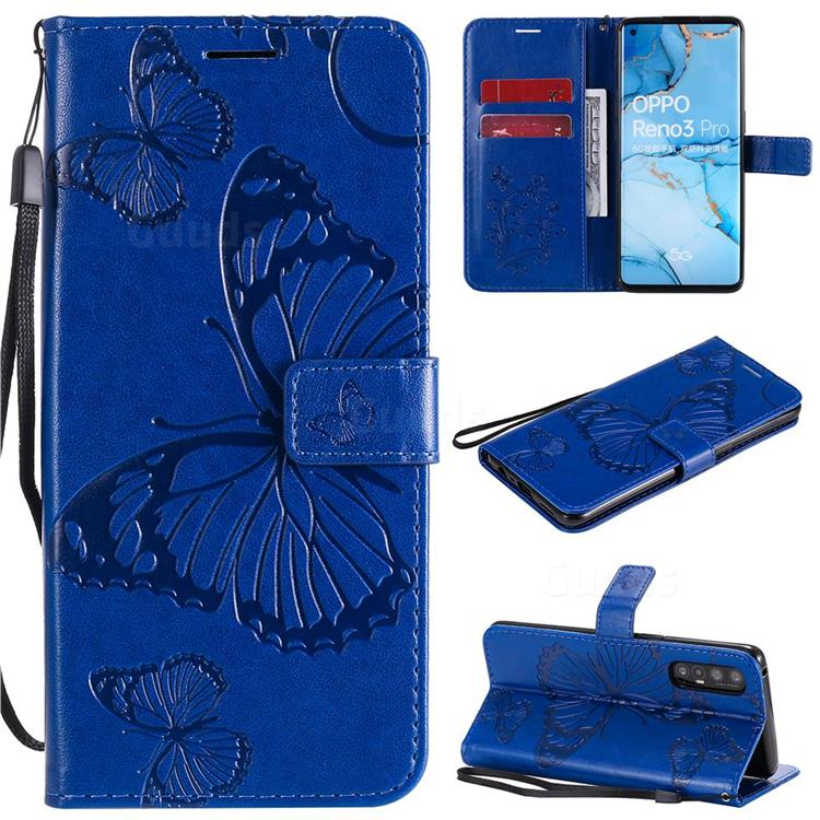 Embossing 3D Butterfly Leather Wallet Case for Oppo Reno 3 Pro 5G - Blue
