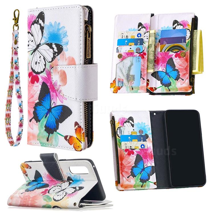 Vivid Flying Butterflies Binfen Color BF03 Retro Zipper Leather Wallet Phone Case for Oppo Reno 3 Pro 5G
