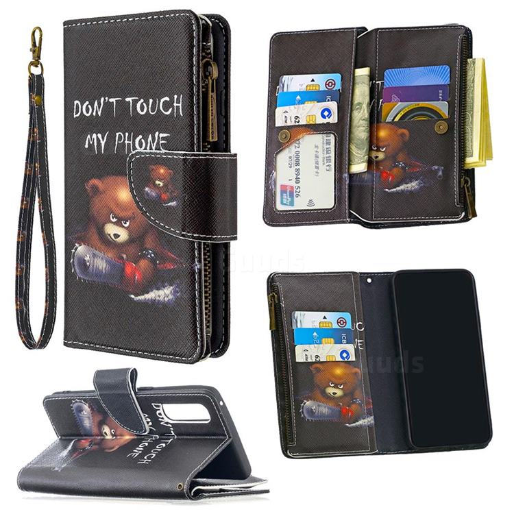 Chainsaw Bear Binfen Color BF03 Retro Zipper Leather Wallet Phone Case for Oppo Reno 3 Pro 5G