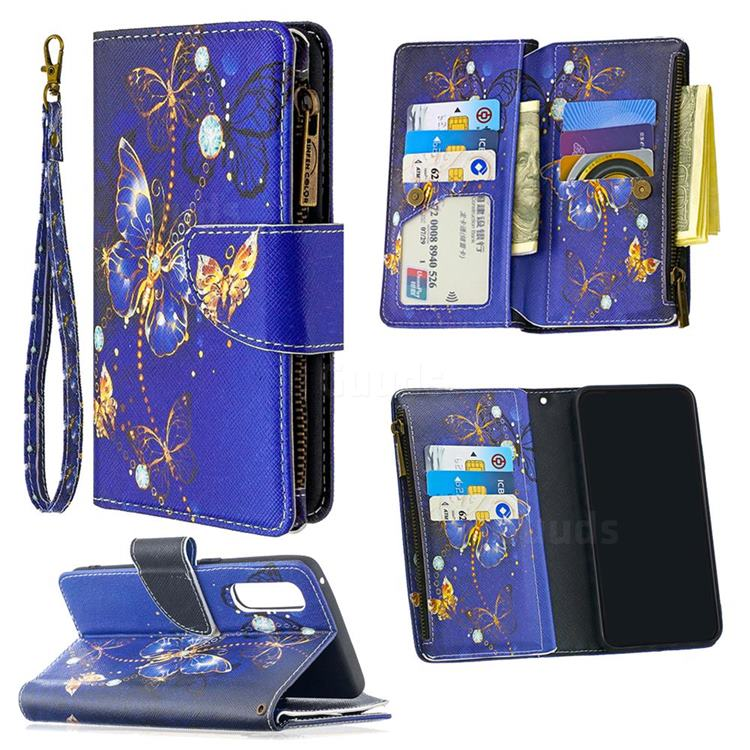 Purple Butterfly Binfen Color BF03 Retro Zipper Leather Wallet Phone Case for Oppo Reno 3 Pro 5G