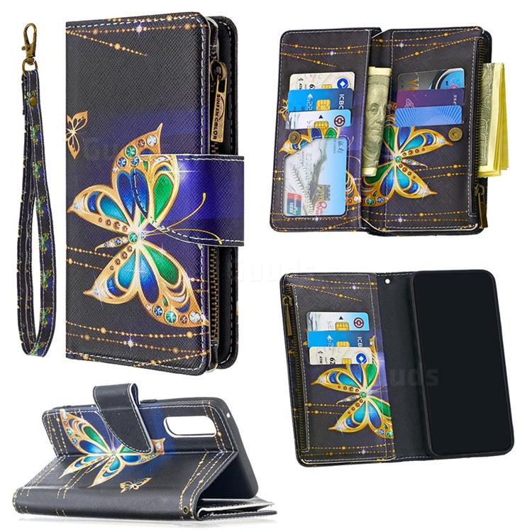 Golden Shining Butterfly Binfen Color BF03 Retro Zipper Leather Wallet Phone Case for Oppo Reno 3 Pro 5G